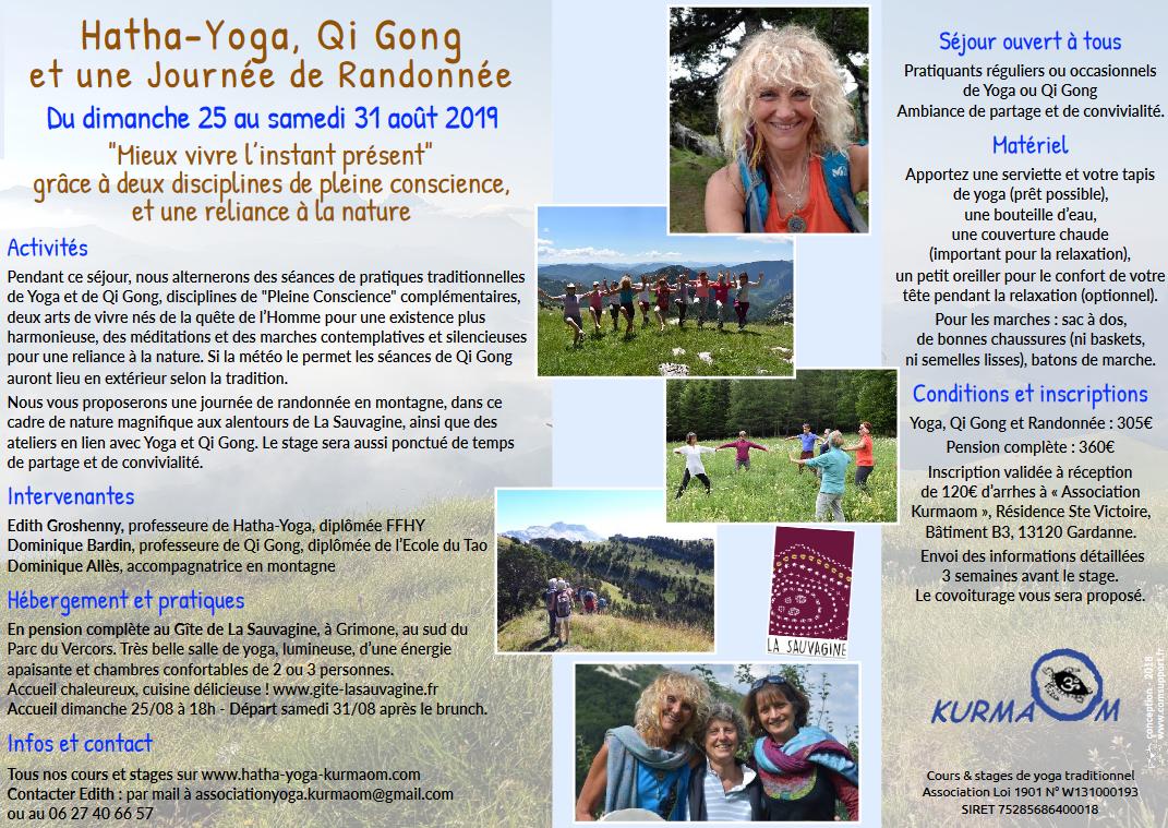 stage yoga randonnée instant partagé VERCORS août 2019