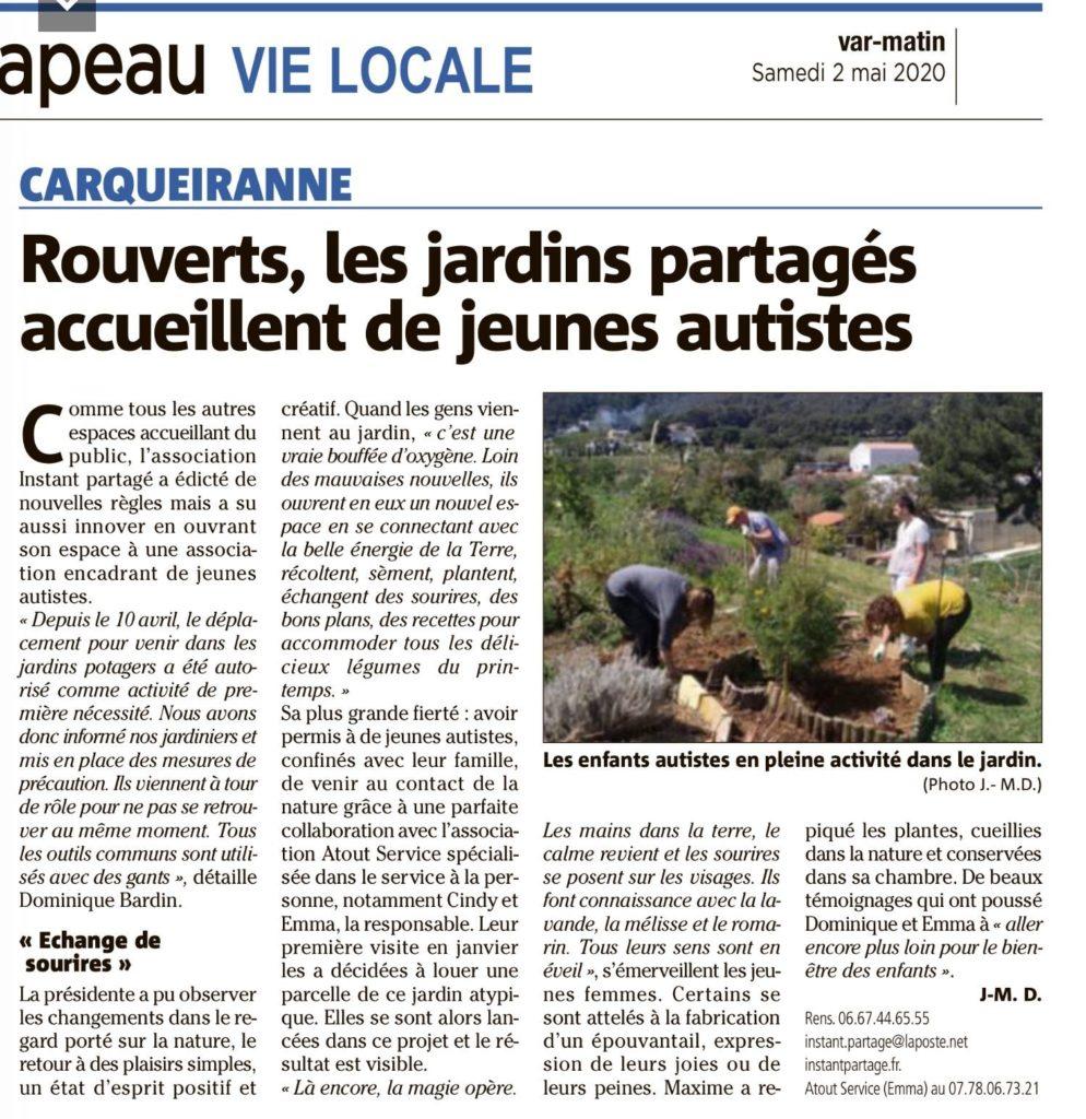 Var Matin - Jardin Instant Partagé - autistes
